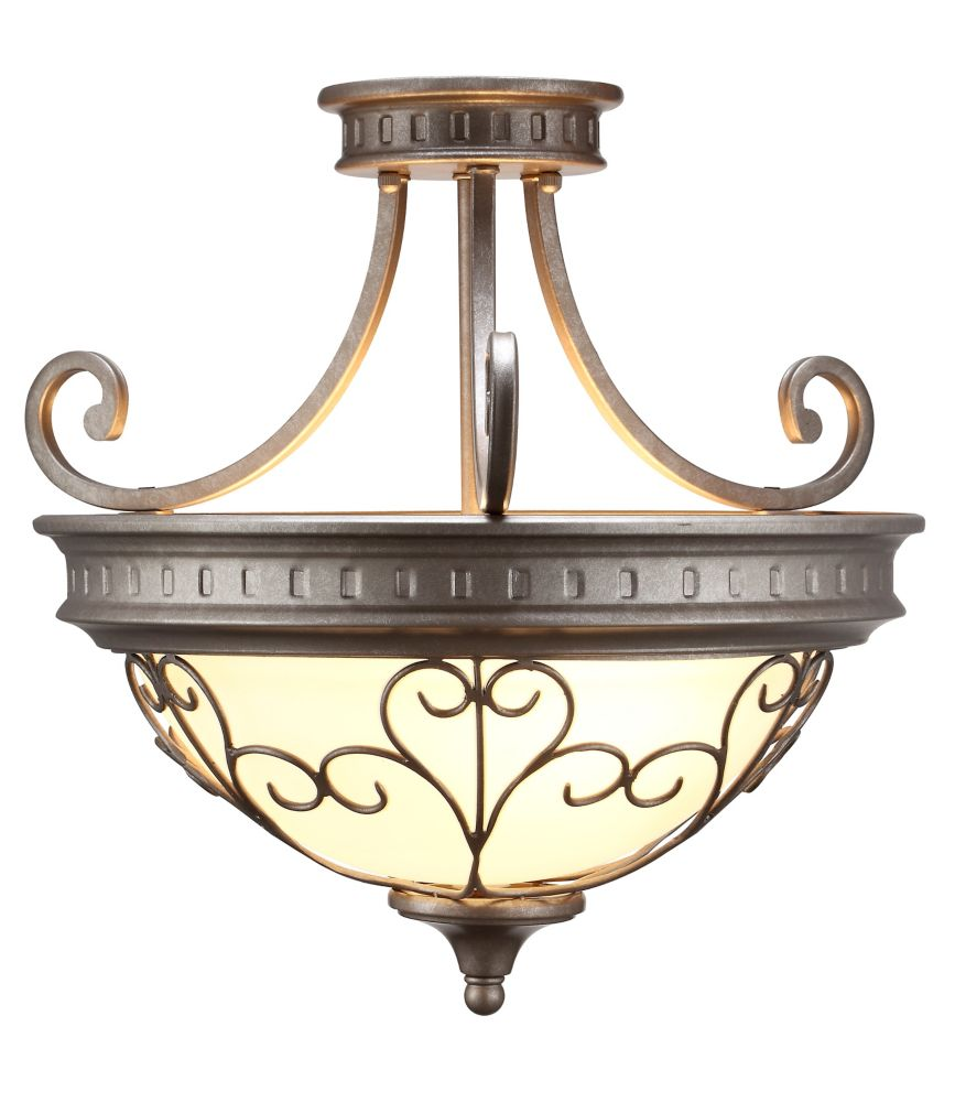 3 Light Semi Flushmount Ceiling Light 17.5 Inch - Antique Pewter with Frosted White Glass Shade 15471-9 Canada Discount