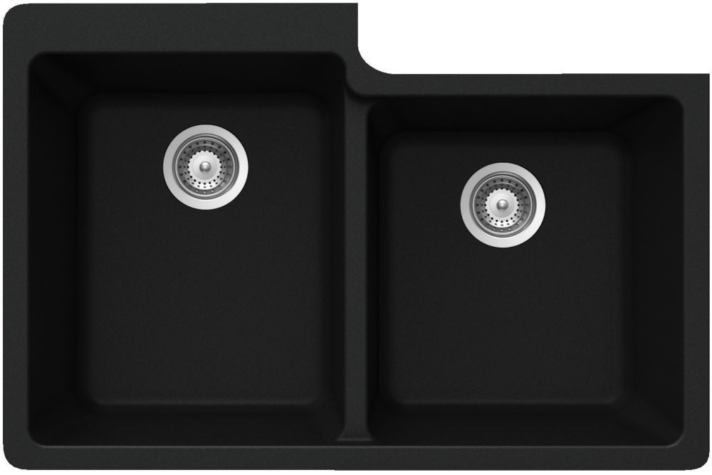 One and Three Quarters Bowl Undermount Black - 22 Inch x 33 Inch x 9.5 deep