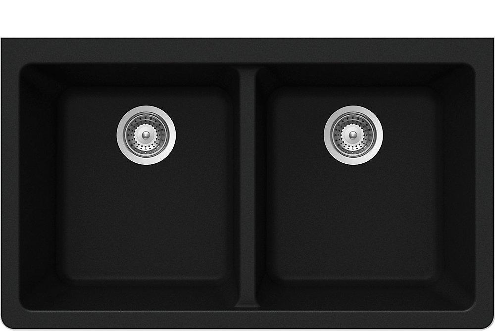 Évier en granit à deux cuves à montage sous le plan de travail en noir