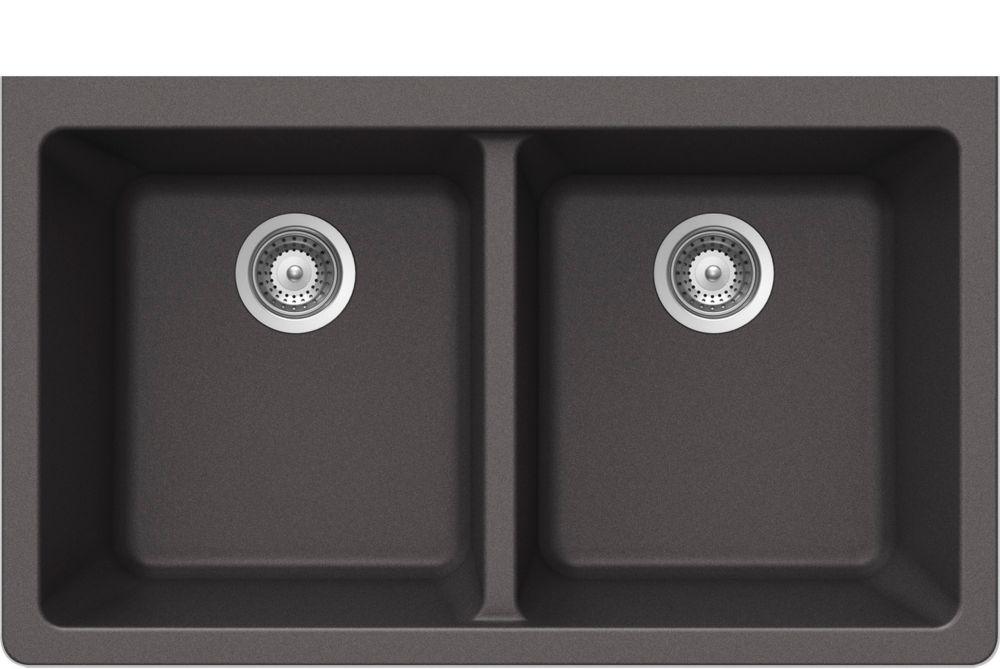 Évier en granit à deux cuves à montage sous le plan de travail en acier