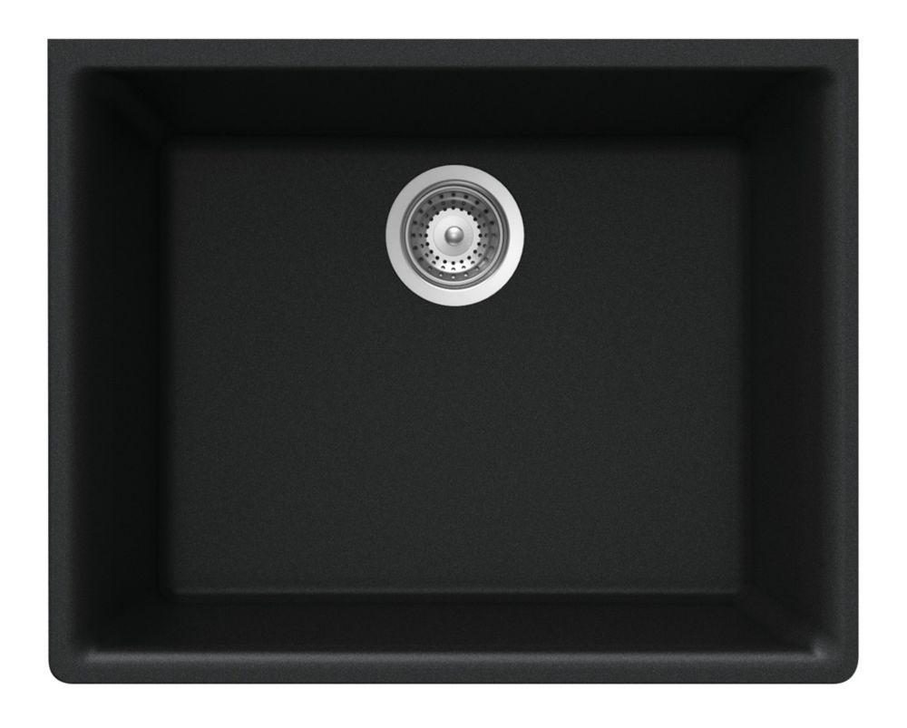 Évier en granit à une cuve à montage sous le plan de travail en noir