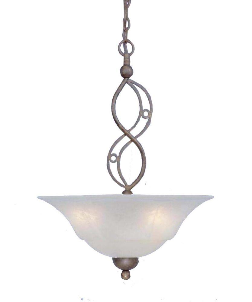 Concord 3 lumières plafond Bronze Pendeloque à incandescence avec un verre de marbre blanc
