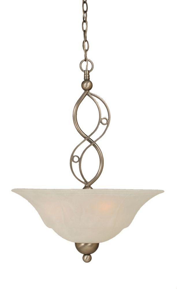 Concord plafond 3 lumières brossé Pendeloque incandescence nickel avec un verre de marbre blanc