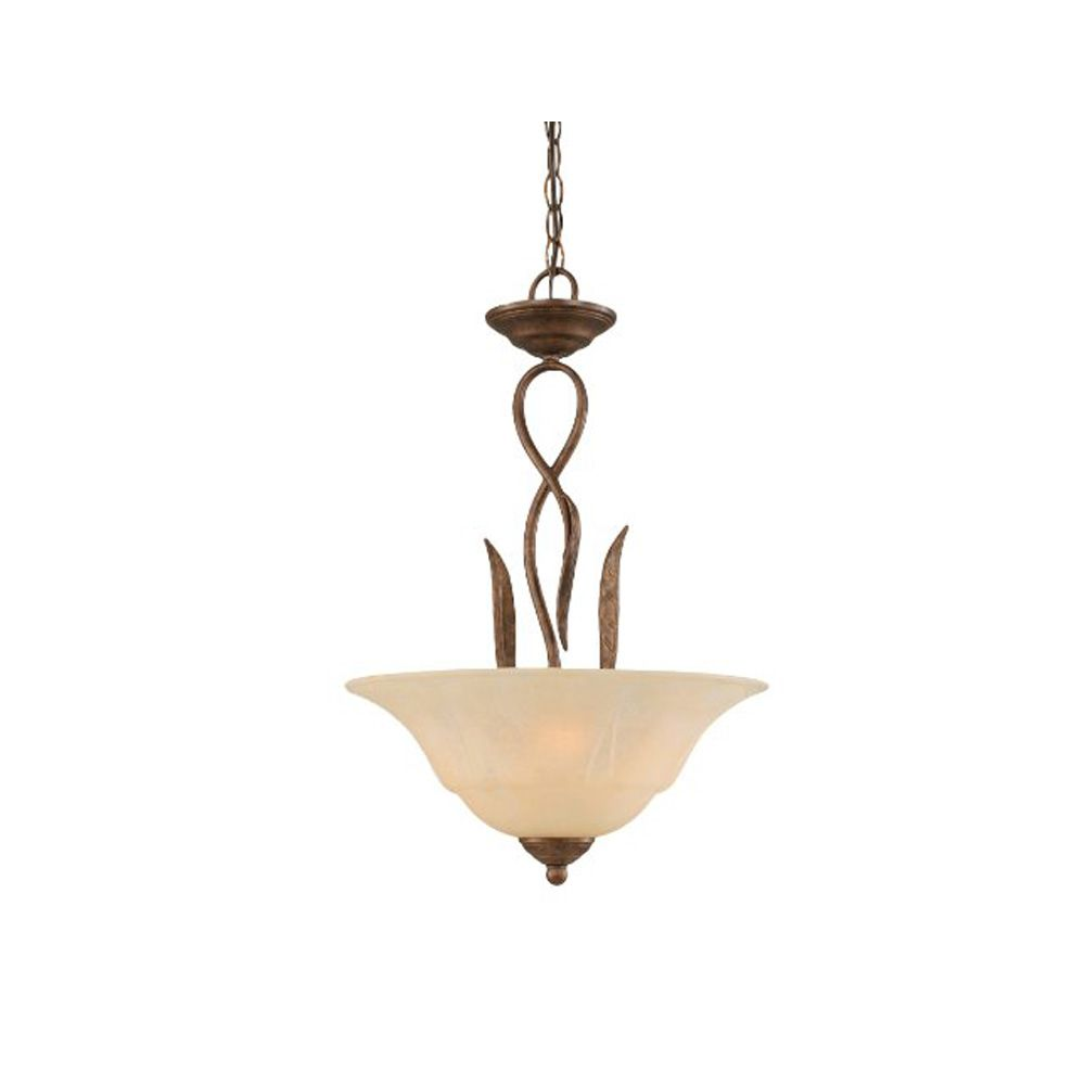 Concord 3-Light Ceiling Bronze Pendant with an Amber Glass