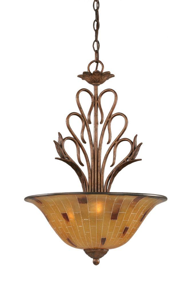 Concord 3 lumières plafond Bronze Pendeloque à incandescence avec une résine Penshell