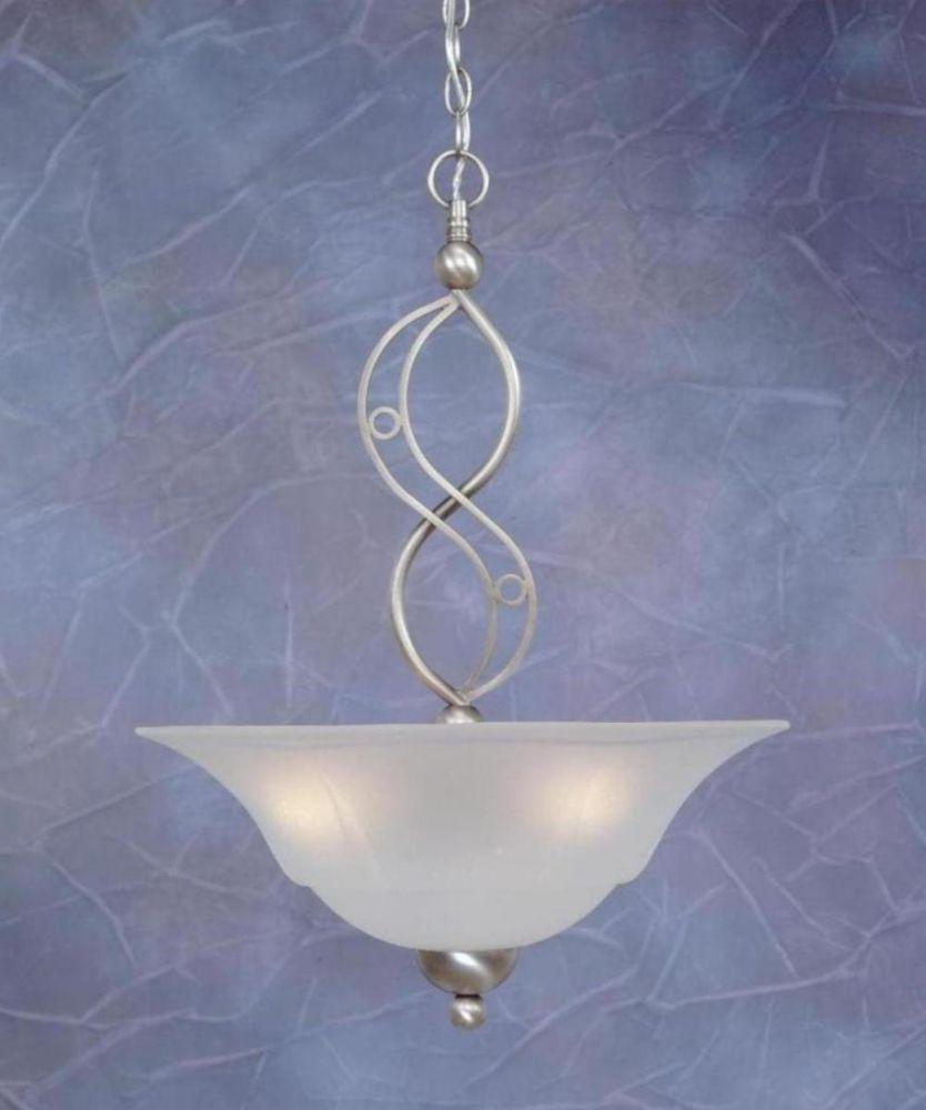Concord plafond 3 lumières, nickel brossé Pendeloque à incandescence avec un verre de rosée de ba...