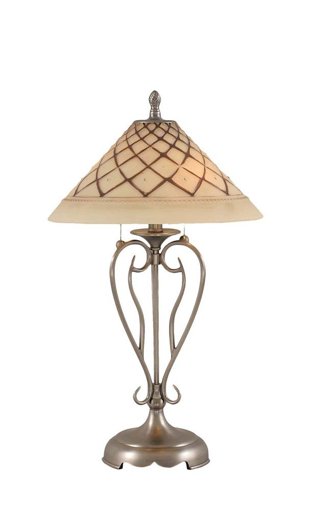 Concord 16 in Brushed Nickel Incandescent Table Lamp with a Chocolate Icing Glass