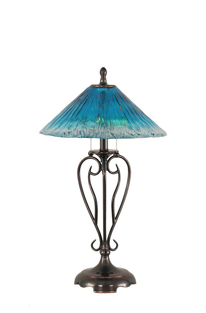 Concord 16 in Black Copper Incandescent Table Lamp with a Teal Crystal Glass