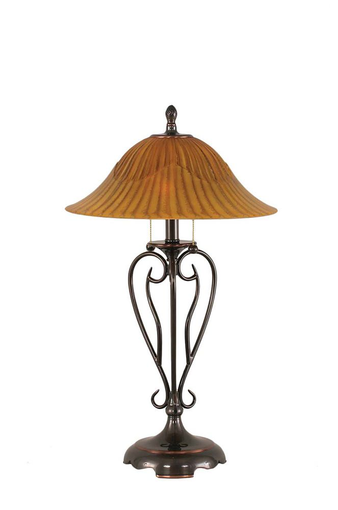Concord 16 in Black Copper Table Lamp with a Tiger Glass