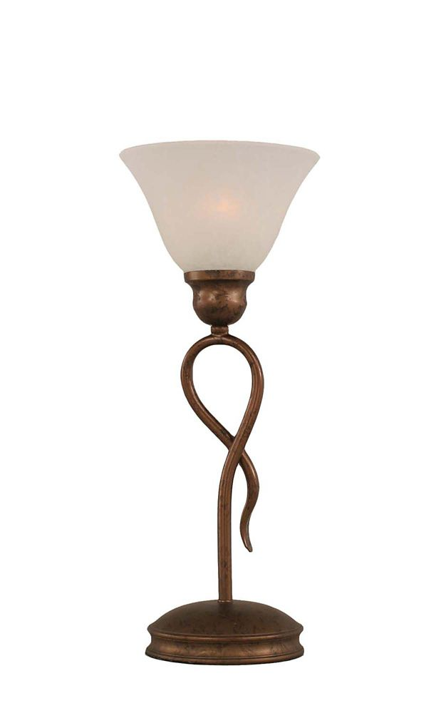 Concord 7 in Bronze Incandescent Table Lamp with a White Marble Glass