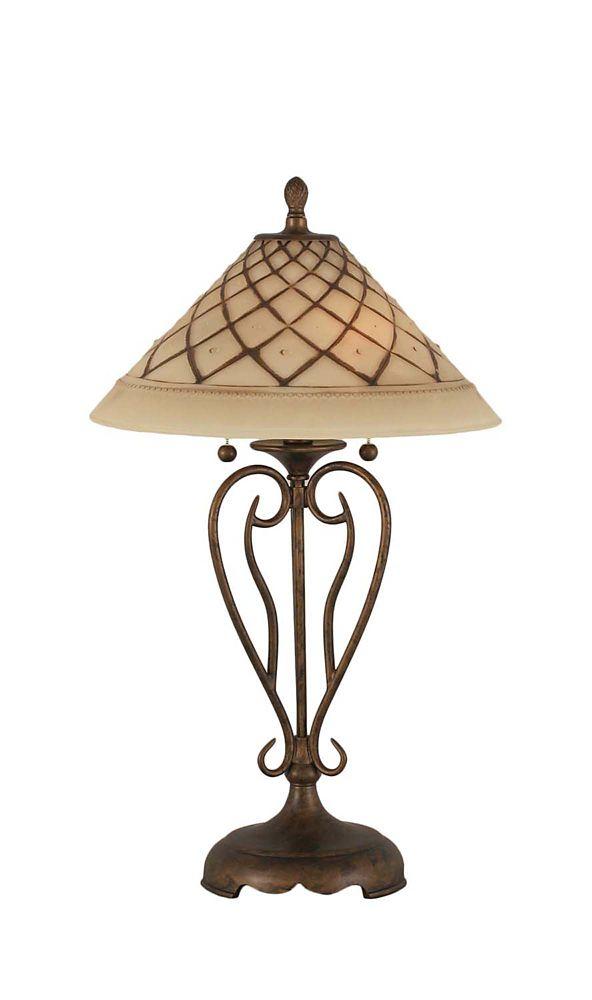 Concord 16 en Bronze Lampe de table à incandescence avec un verre de glaçage au chocolat