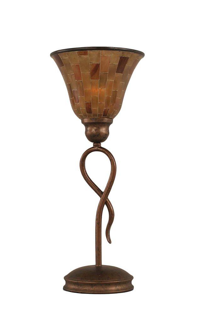 Concord 7 en bronze Lampe de table à incandescence avec une résine Penshell