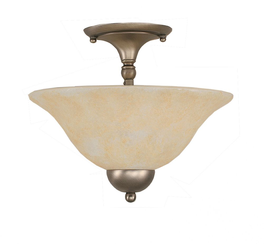 Concord 2-Light Ceiling Brushed Nickel Semi Flush with an Amber Glass