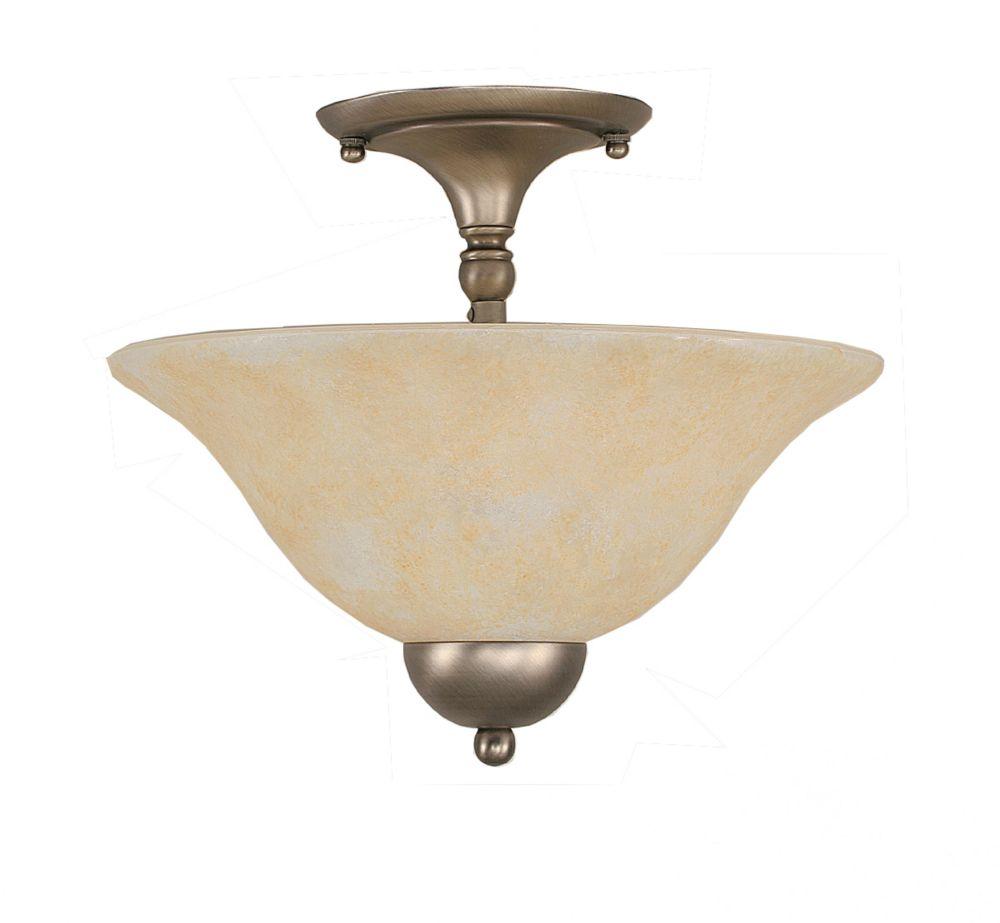Concord plafond à 2 lumières, nickel brossé Incandescent Semi Flush avec un verre ambre