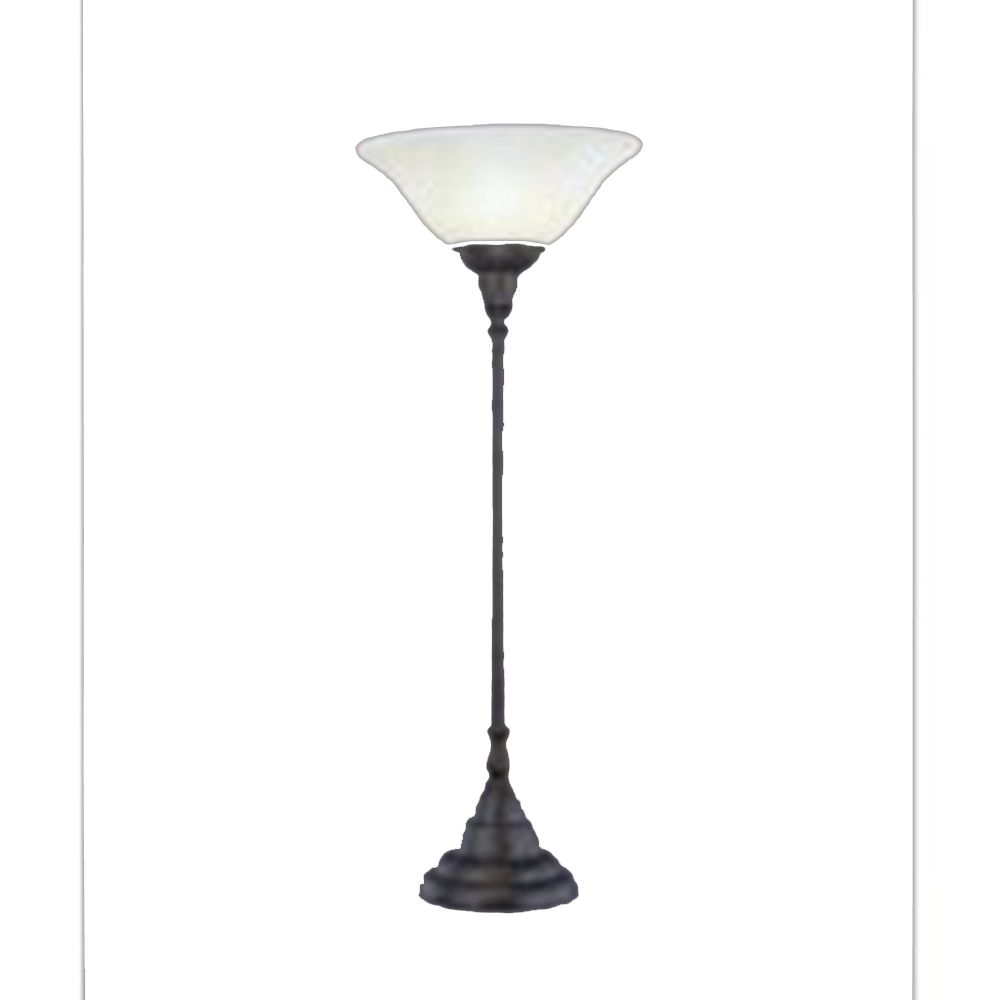 Concord 1325 in Bronze Table Lamp with an Amber Glass