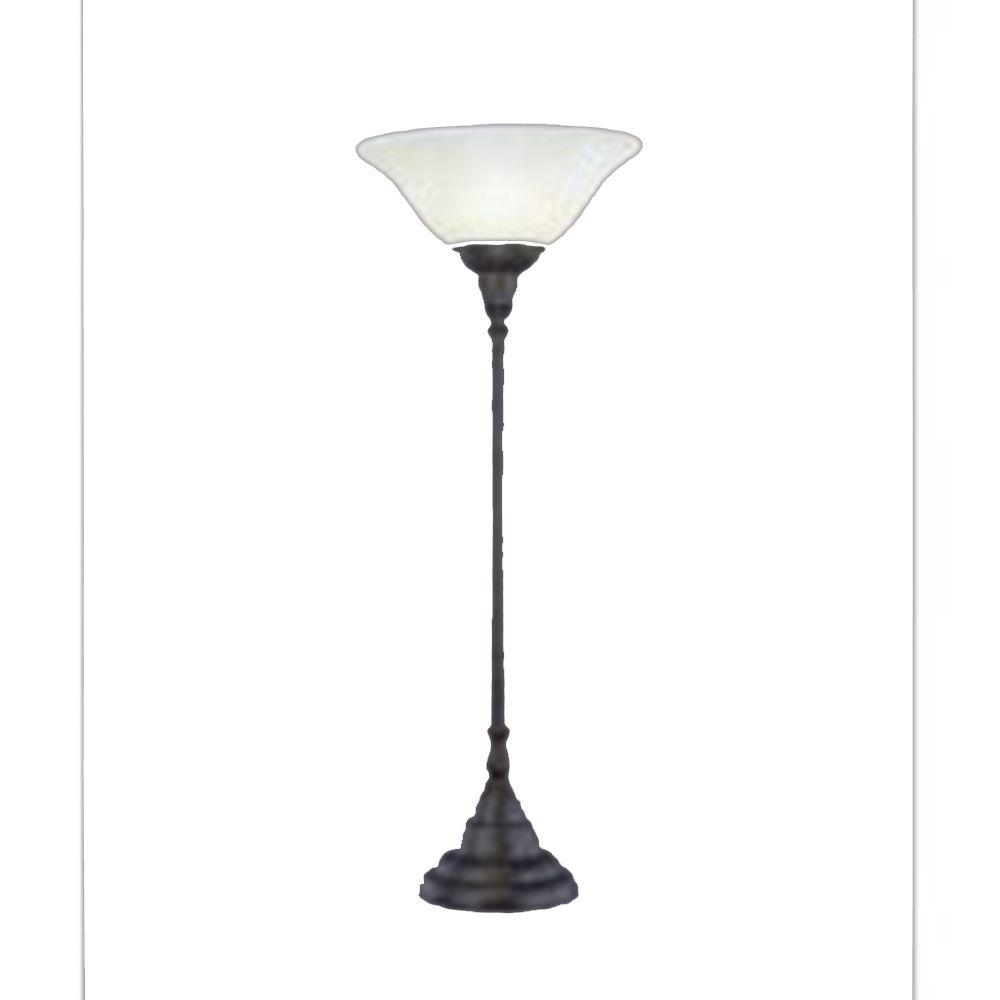 Concord 1325 Bronze Table Lamp incandescence par un verre ambre