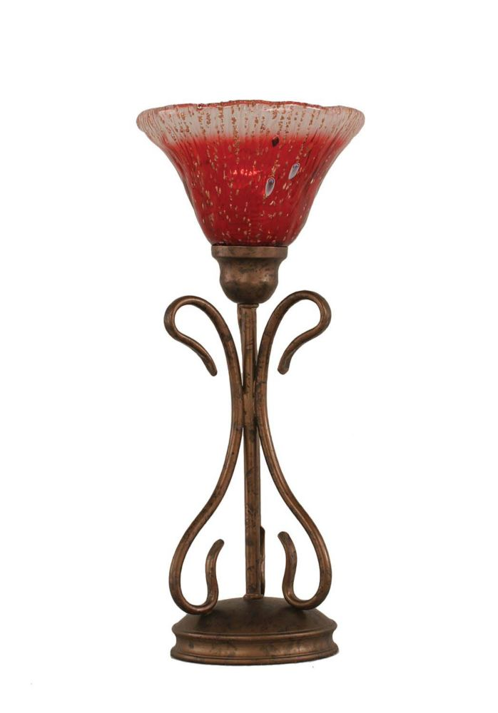 Concord 7 in Bronze Incandescent Table Lamp with a Raspberry Crystal Glass