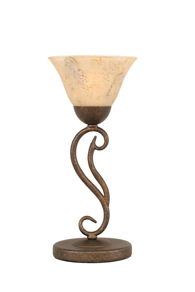 Concord 675 in Bronze Table Lamp with an Italian Marble Glass