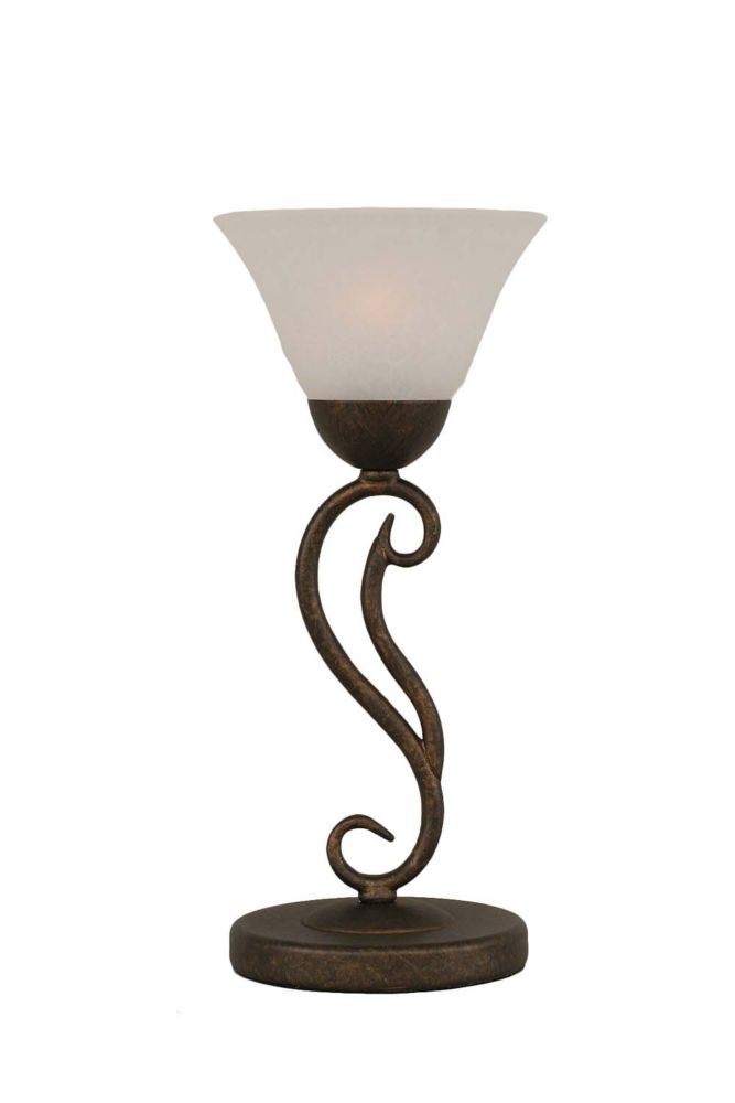Concord 675 in Bronze Incandescent Table Lamp with a White Marble Glass
