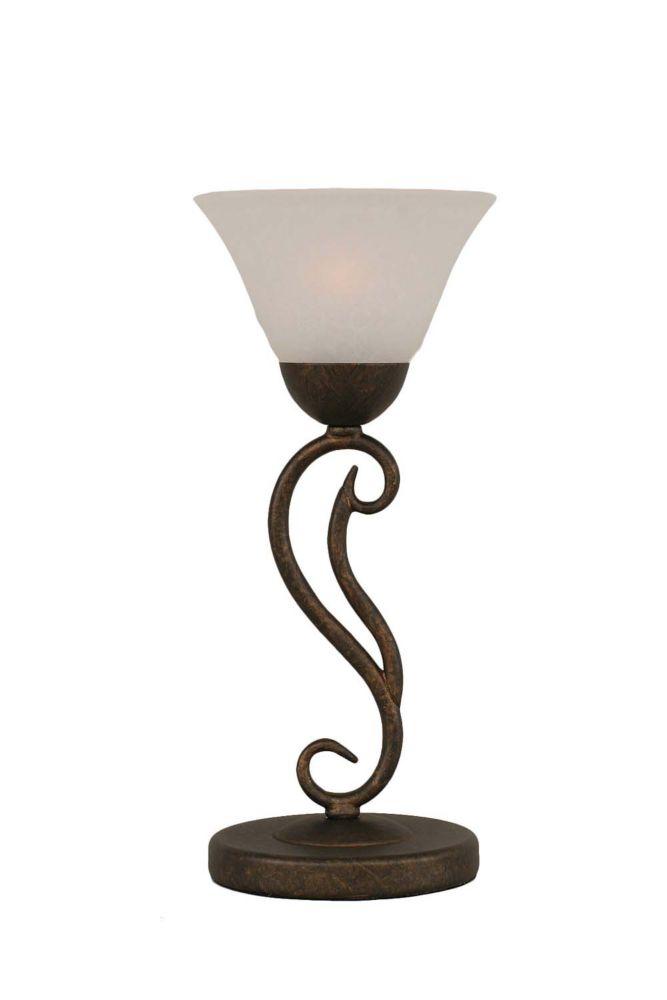 Concord 675 en bronze Lampe de table à incandescence avec un verre de marbre blanc