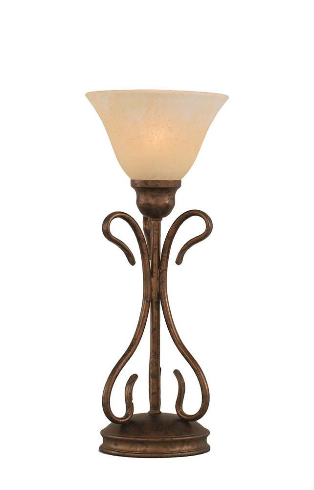 Concord 7 in Bronze Table Lamp with an Amber Glass