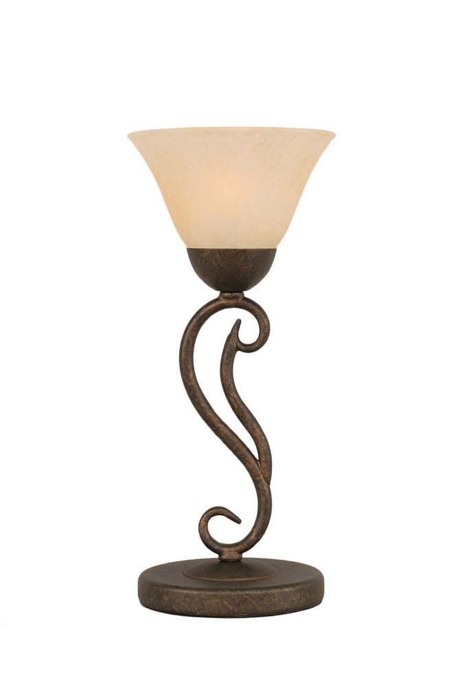 Concord 7 en bronze Lampe de table incandescence par un verre ambre