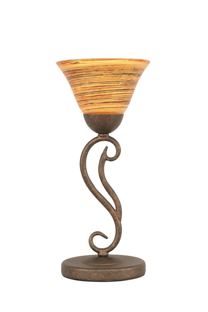 Concord 7 in Bronze Incandescent Table Lamp with a Firré Saturn Glass
