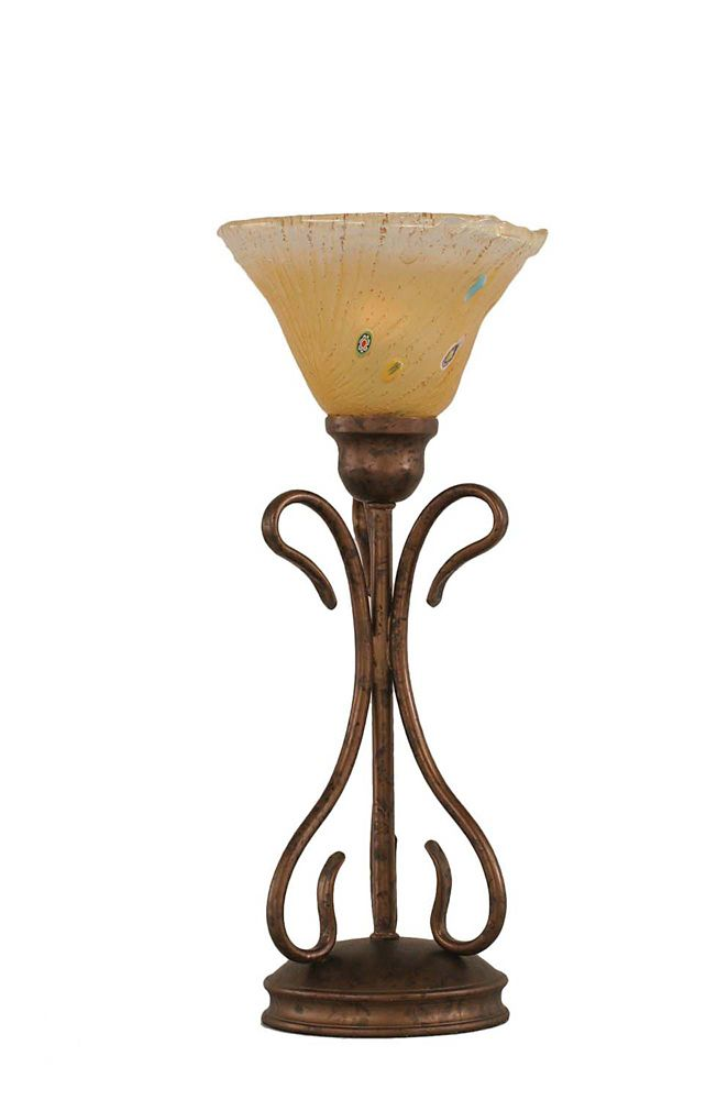 Concord 7 in Bronze Incandescent Table Lamp with an Amber Glass