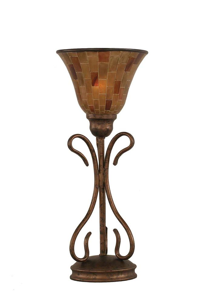 Concord 7 in Bronze Table Lamp with a Penshell Resin Glass