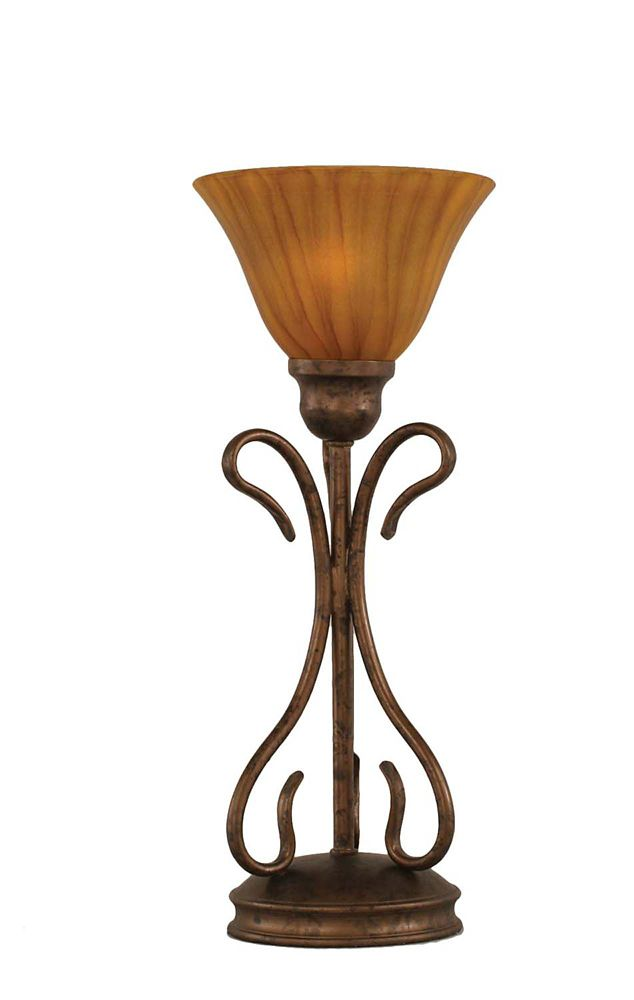 Concord 7 in Bronze Incandescent Table Lamp with a Tiger Glass