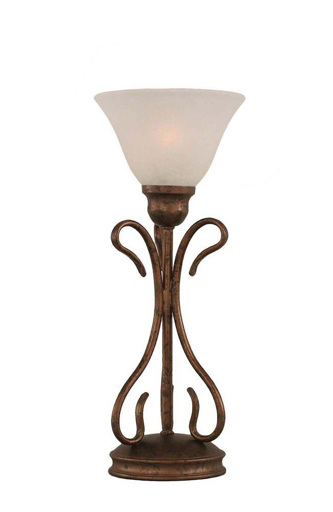 Concord 7 en bronze Lampe de table à incandescence avec un verre de marbre blanc