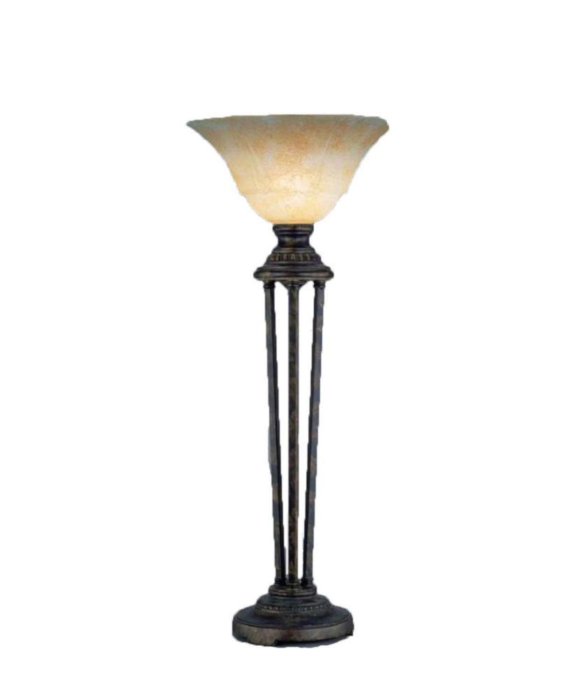 Concord 14 in Bronze Incandescent Table Lamp with an Amber Glass