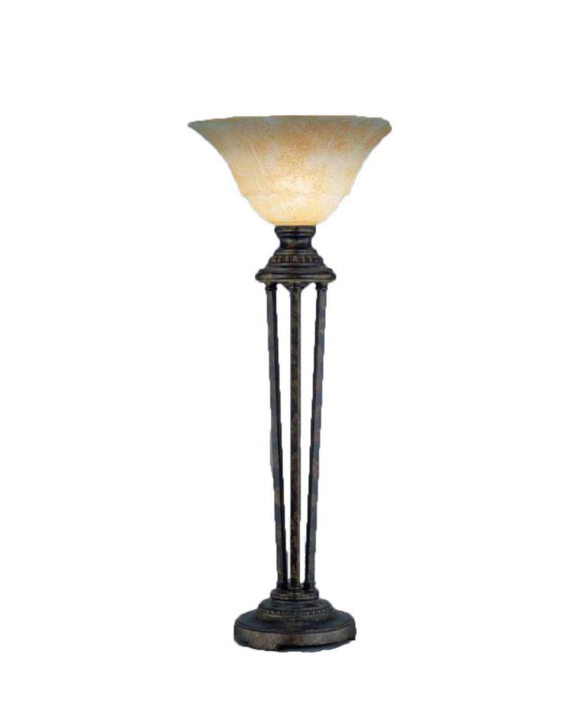 Concord 14 en Bronze Table Lamp incandescence par un verre ambre