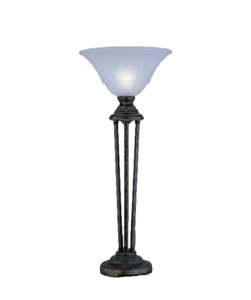 Concord 14 in Bronze Incandescent Table Lamp with a White Marble Glass