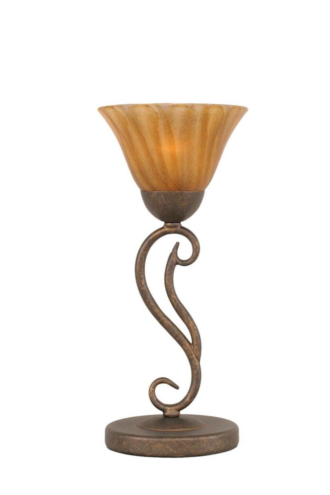 Concord 675 in Bronze Incandescent Table Lamp with a Tiger Glass