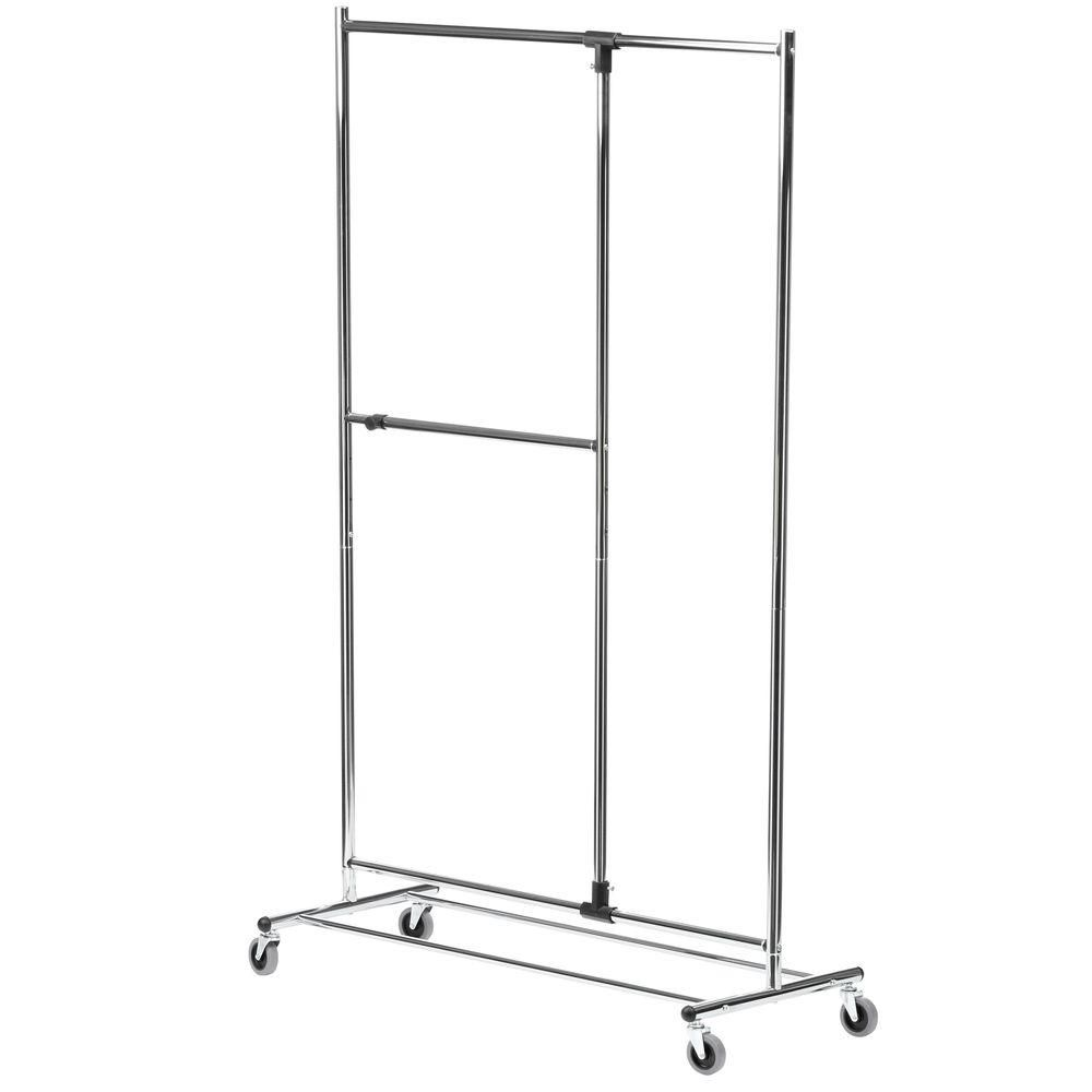 "80"" Dual Bar Chrome Adjustable Garment Rack"