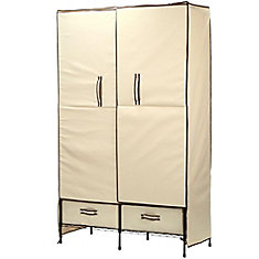 71-inch H x 45-inch W x 18-inch D Double-Door Portable Closet with Two Drawers in Natural