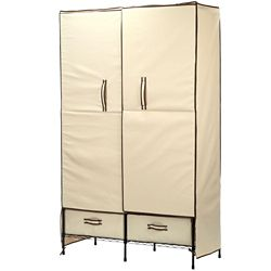 Honey-Can-Do International 71-inch H x 45-inch W x 18-inch D Double-Door Portable Closet with Two Drawers in Natural