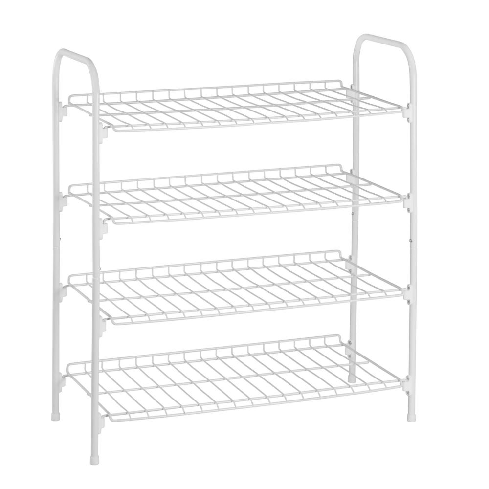 4 tier wire shoe & accessory shelf/closet shelves, white
