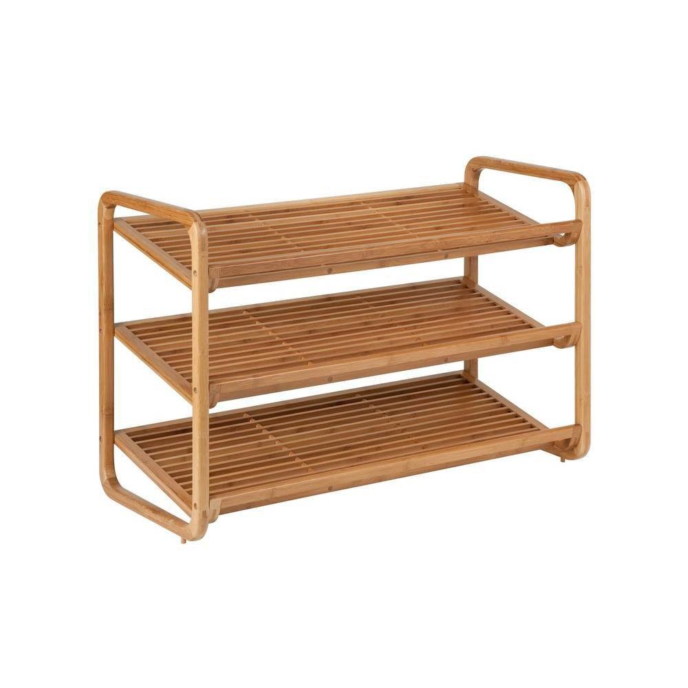 Honey-Can-Do International 3-Tier 9-Pair Deluxe Shoe Shelves in Bamboo