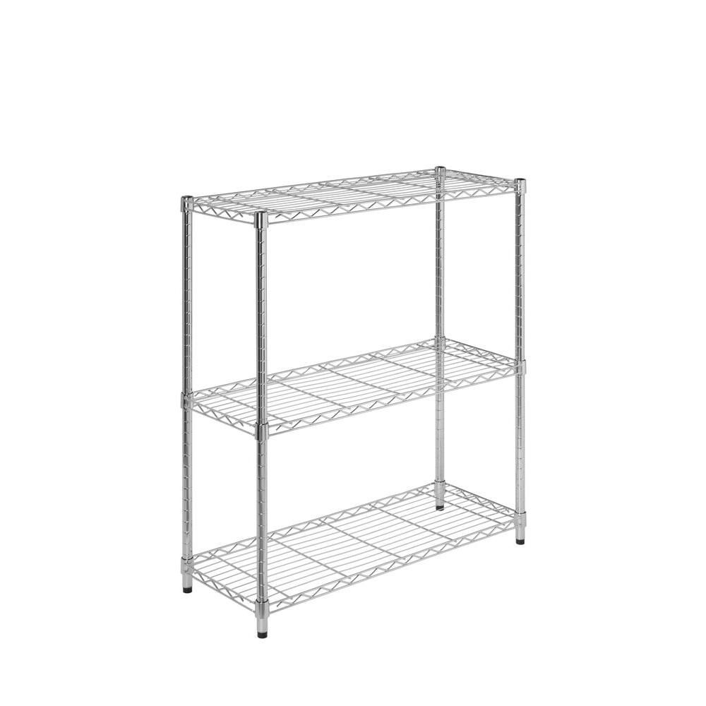 Honey Can Do International 3 Shelf 30 Inch H X 24 W 14 D Steel Shelving Unit In Chrome