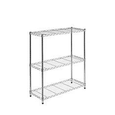 3-Shelf 30-inch H x 24-inch W x 14-inch D Steel Shelving Unit in Chrome