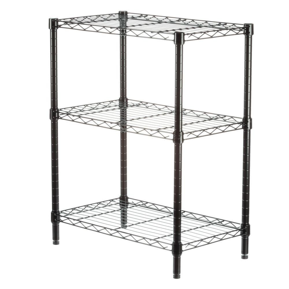 Honey-Can-Do International 3-Shelf 30-inch H x 24-inch W x 14-inch D Steel Commercial Shelving Unit