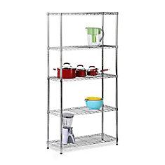5-Shelf 72-inch H x 36-inch W x 14-inch D Steel Shelving Unit in Chrome