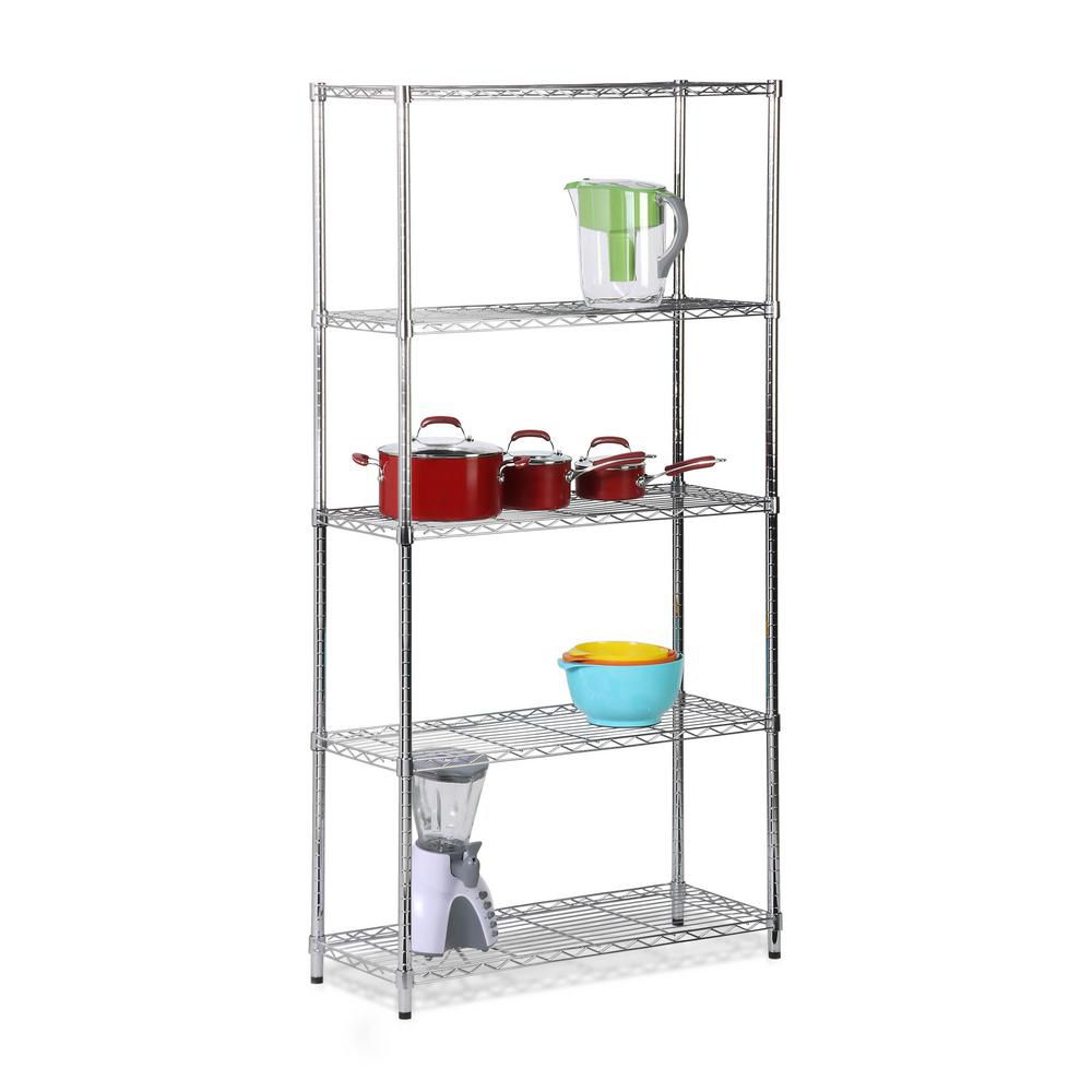 Honey-Can-Do International 5-Shelf 72-inch H x 36-inch W x 14-inch D Steel Shelving Unit in Chrome