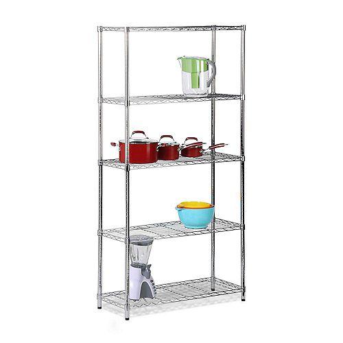 Honey-Can-Do 5-Shelf 72-inch H x 36-inch W x 14-inch D Steel Shelving Unit in Chrome