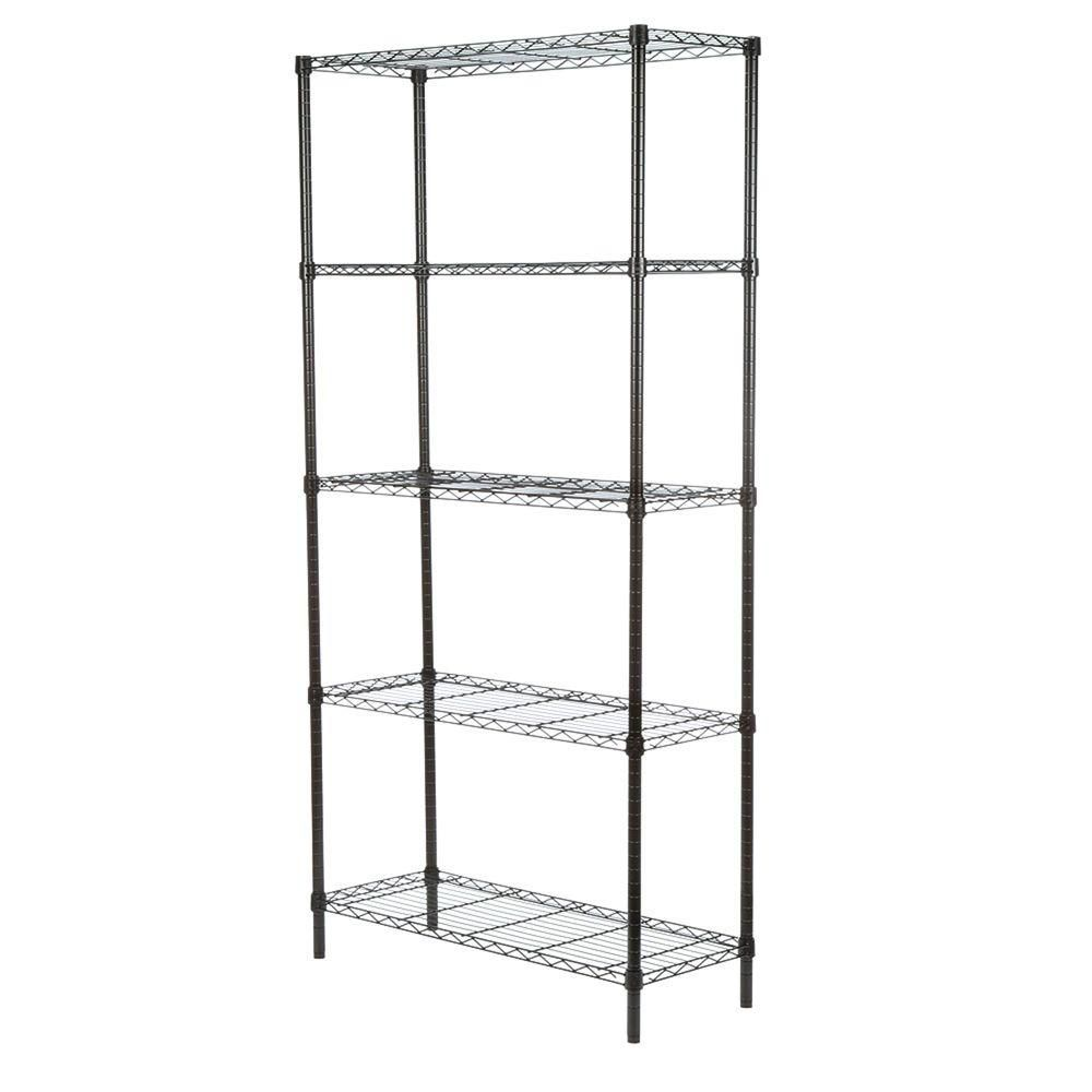 Honey-Can-Do International 5-Shelf 72-inch H x 36-inch W x 14-inch D Steel Shelving Unit in Black