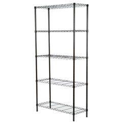 Honey-Can-Do International 5-Shelf 72-inch H x 36-inch W x 14-inch D Steel Shelving Unit in Black