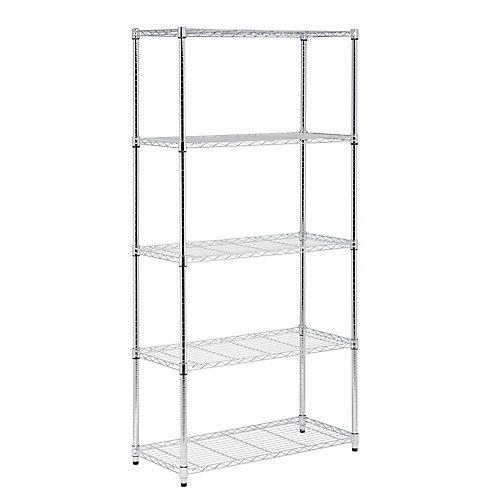 72-inch H x 36-inch W x 16-inch D 5-Shelf Steel Shelving Unit in Chrome