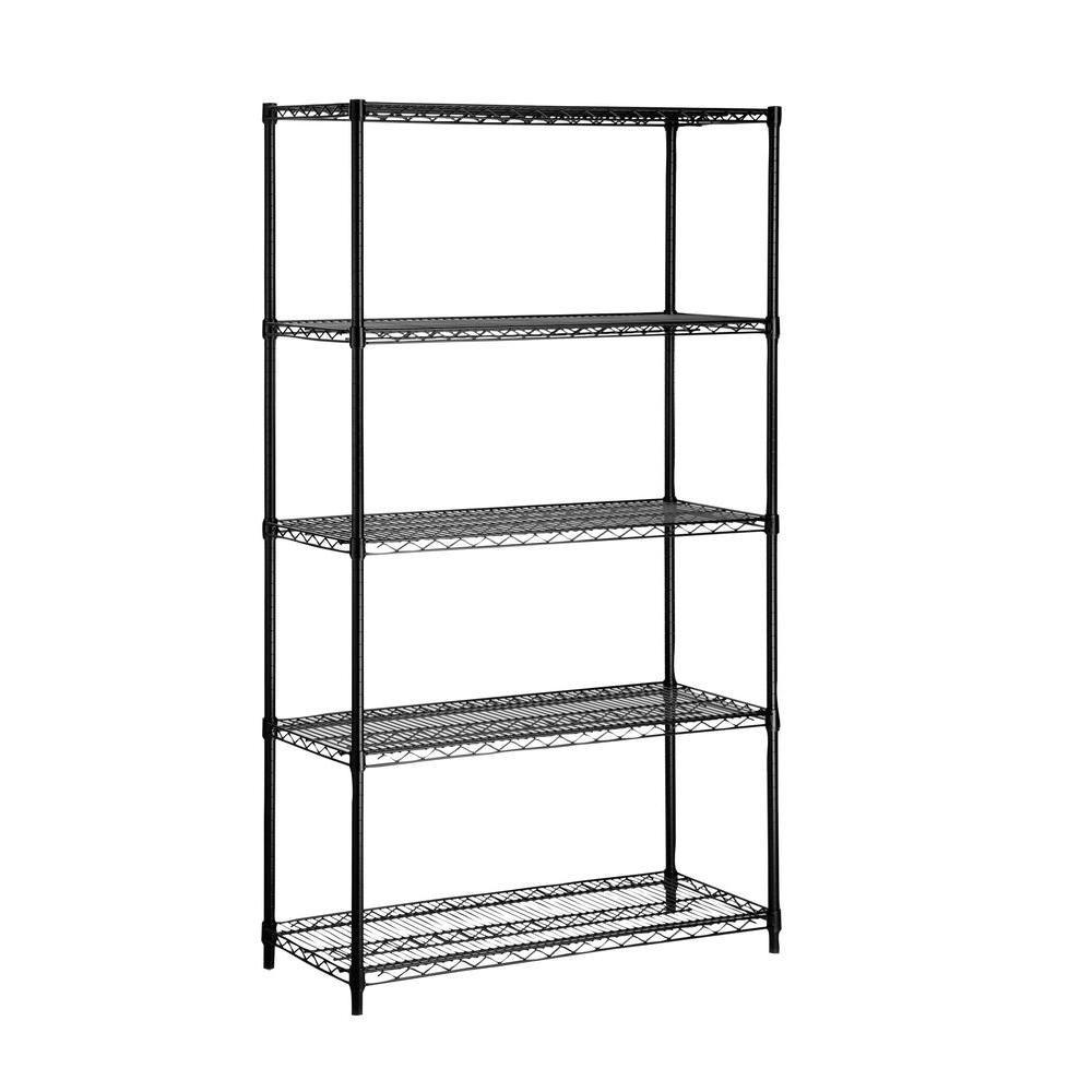 Five tier black storage shelves 350lb
